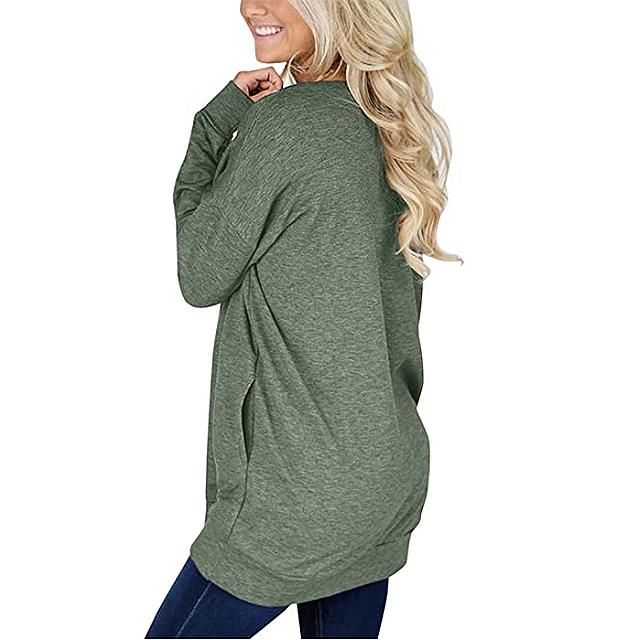 Bingerlily - Top informal de manga larga con cuello redondo y túnica para mujer con bolsillos (verde)