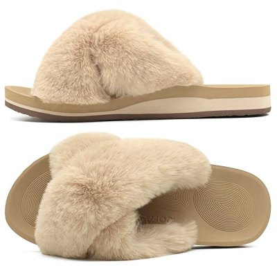 COFACE Women's Fuzzy Slide House Slippers with Arch Support
