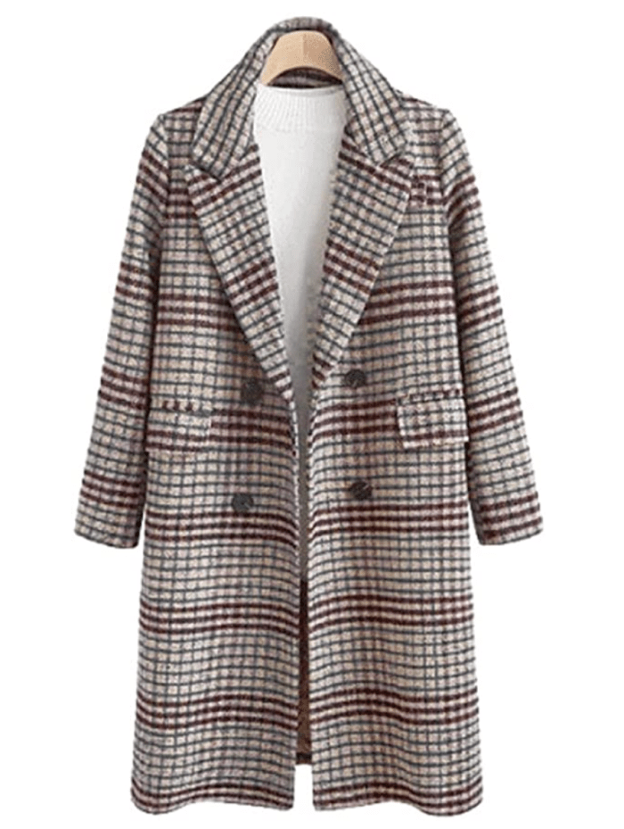 Chartou Women's Winter Oversize Woolen Plaid Double Breasted Long Peacoat