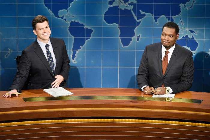 Colin Jost and Michael Che during Weekend Update on Saturday Night Live Colin Jost Returns to Saturday Night Live After Wedding to Scarlett Johansson
