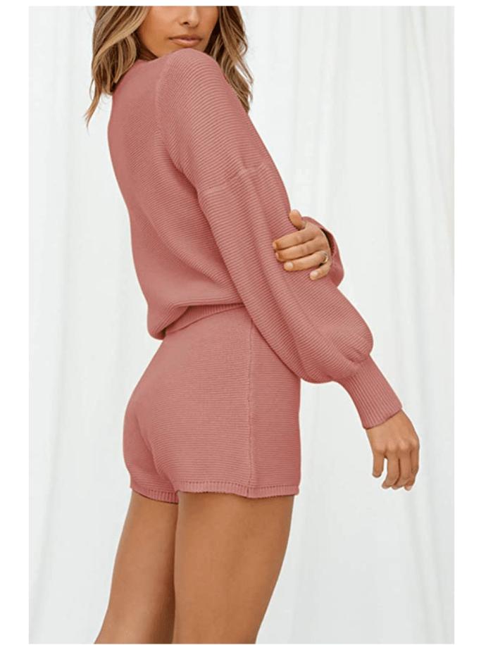 Fixmatti Conjunto de suéter de manga larga de punto de 2 piezas para mujer y pantalones cortos
