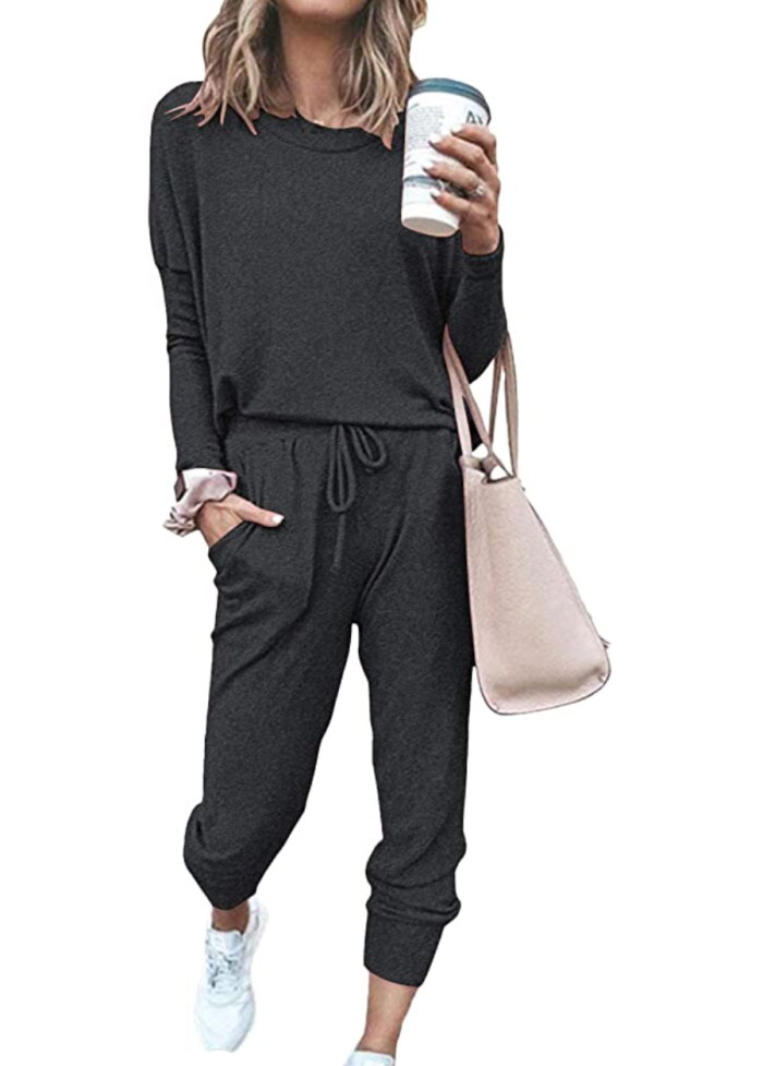 Fixmatti Women's Casual Two Piece Set Sweatsuit (Dark Grey)