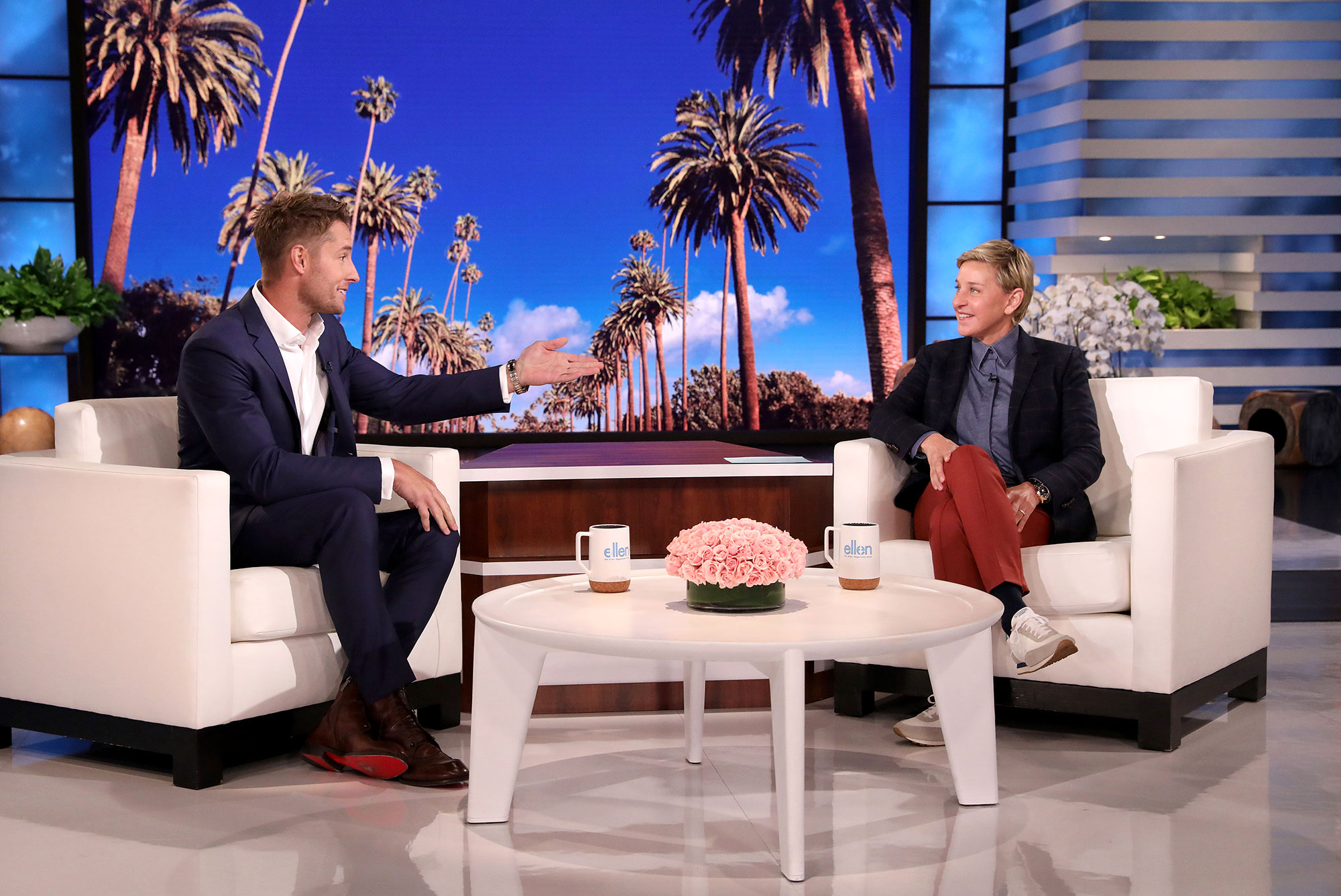 Justin Hartley Painful Arm Injury Cast During Quarantine Ellen DeGeneres Show
