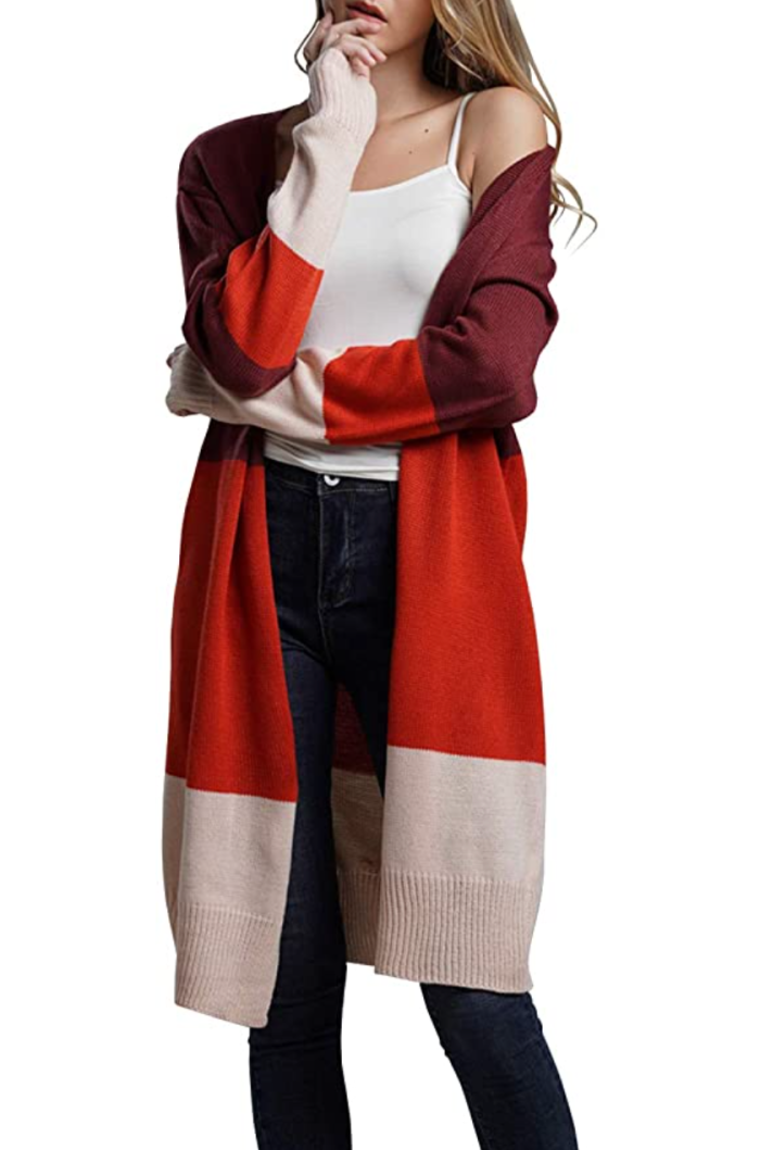 KIRUNDO Women's Open Front Long Color Block Fall Sweater