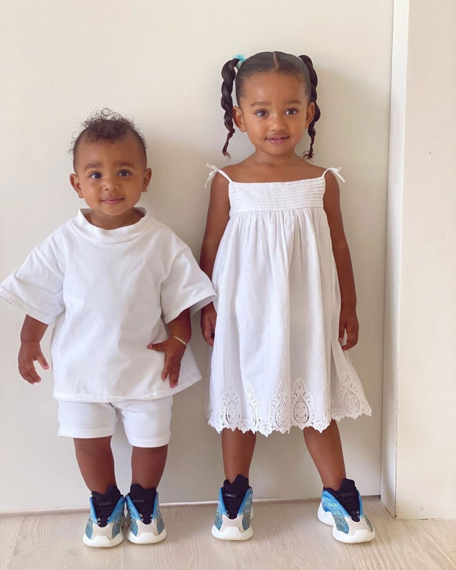 Kim Kardashian Instagram Chicago West and Psalm West White Outfits and Matching Sneakers
