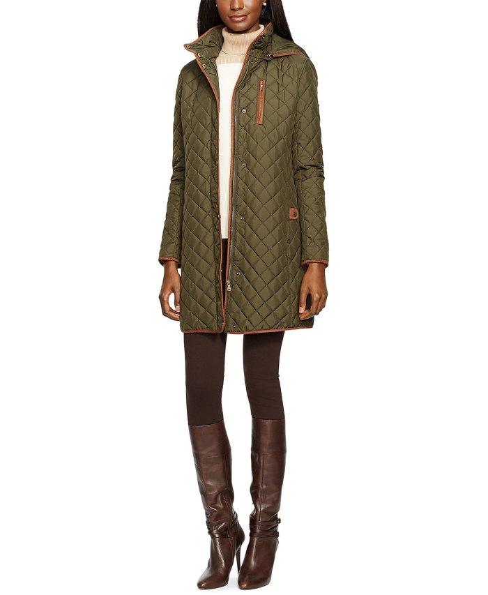 Lauren Ralph Lauren Faux Suede–Trim Quilted Coat