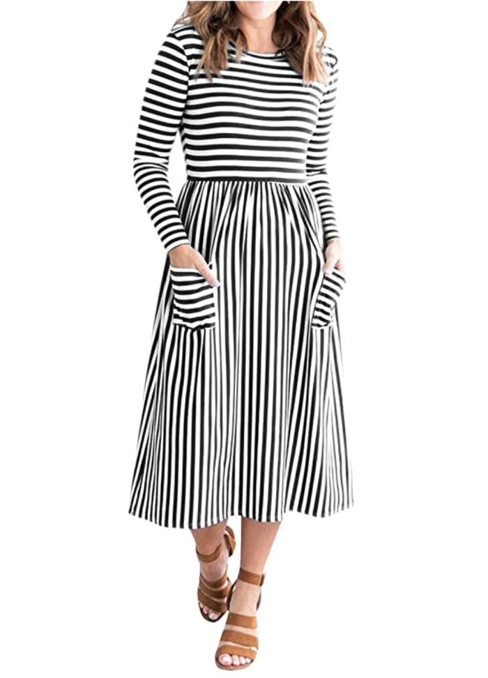MEROKEETY Vestido a media pierna de cintura alta a rayas con mangas de globo 3: 4 para mujer con bolsillos