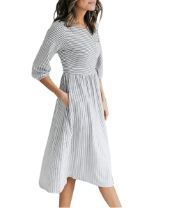 MEROKEETY Women's 3:4 Balloon Sleeve Striped High Waist T Shirt Midi Dress with Pockets