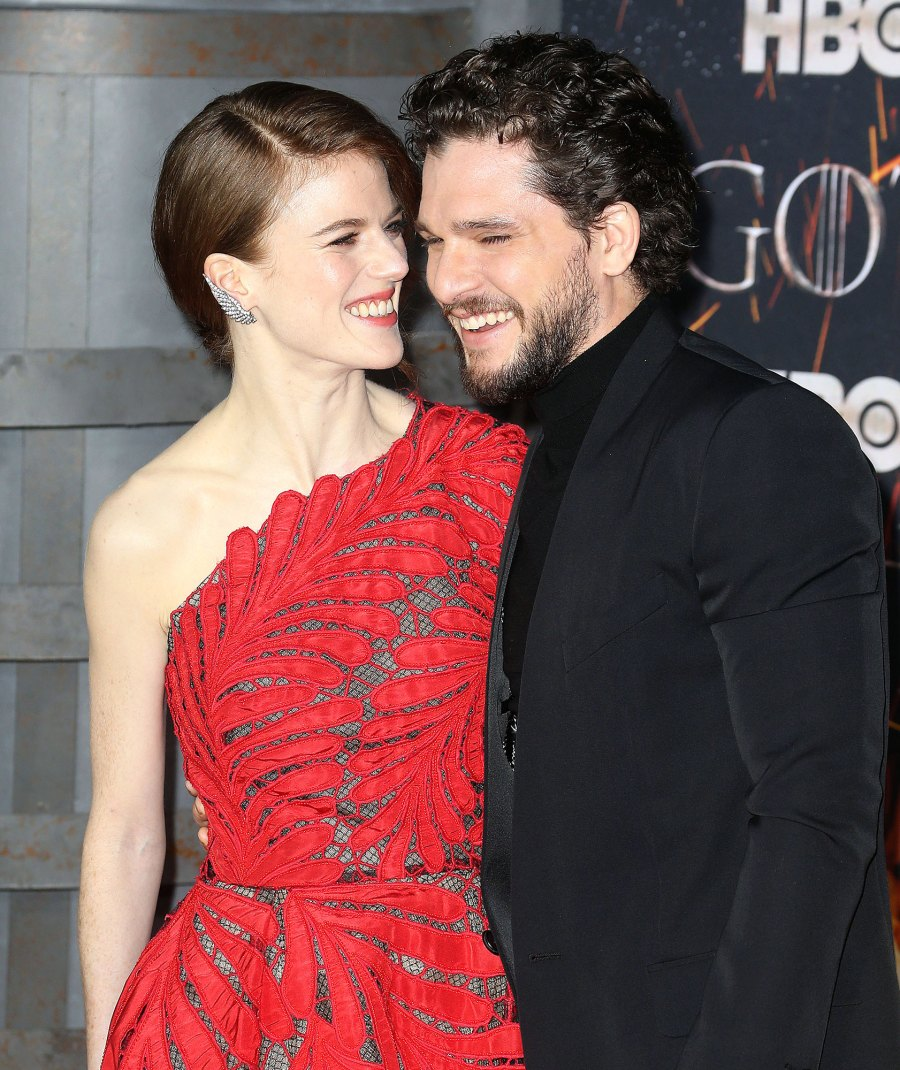 Rose Leslie and Kit Harington attend the Game of Thrones season eight premiere Pregnant Rose Leslie Cant Wait to Meet Her and Kit Harington Baby