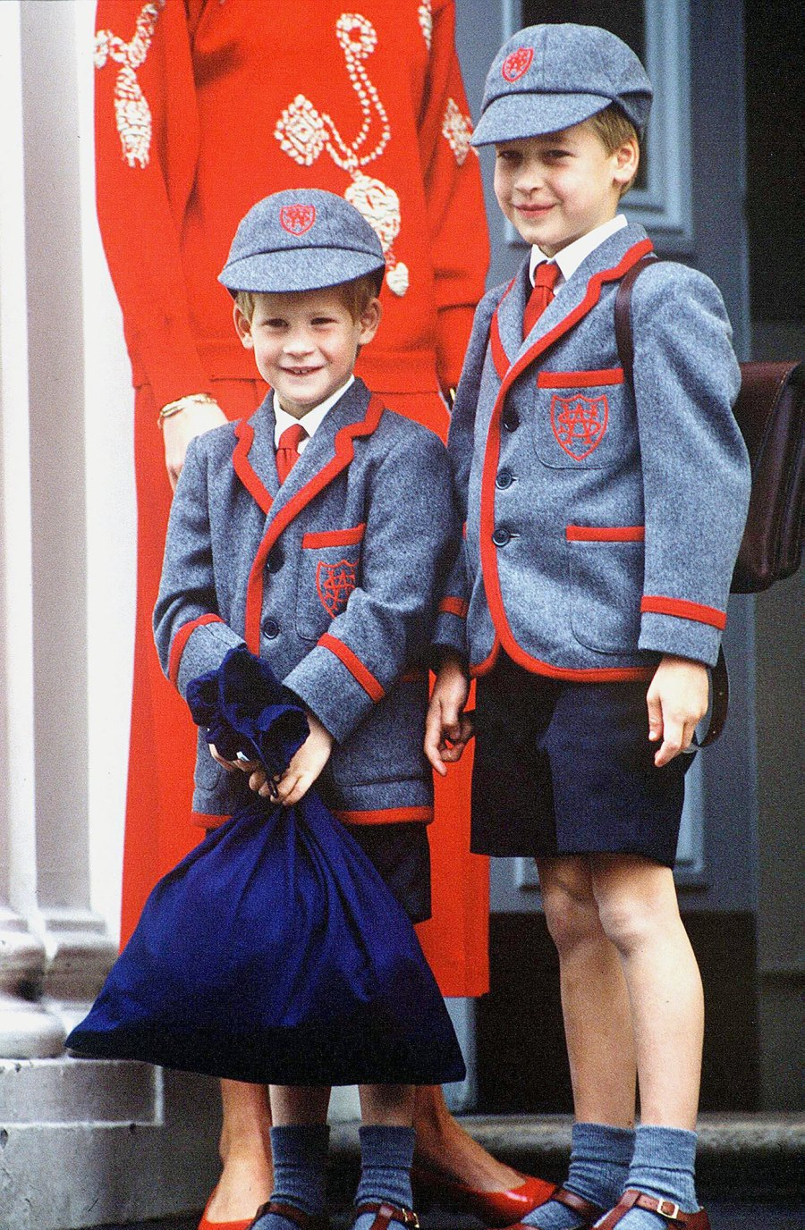 Princess Diana taking Prince William and Henry Harry to Wetherby school in London in 1989