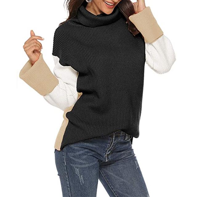 SAUKOLE Jersey de punto grueso informal con cuello alto y bloque de color para mujer (negro)