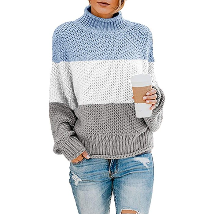 Suéter extragrande con cuello alto Saodimallsu