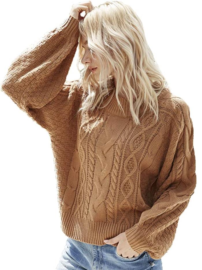 Suéter corto de gran tamaño para mujer Simplee (marrón)