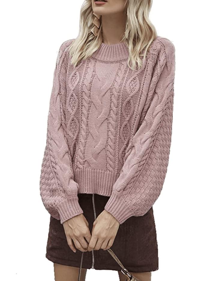 Suéter corto de gran tamaño para mujer Simplee (rosa)