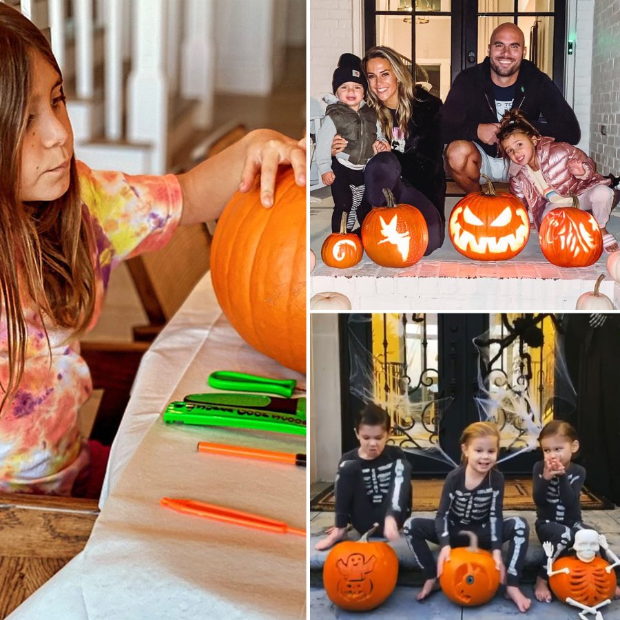 Stars and Kids Carving Pumpkins Halloween 2020