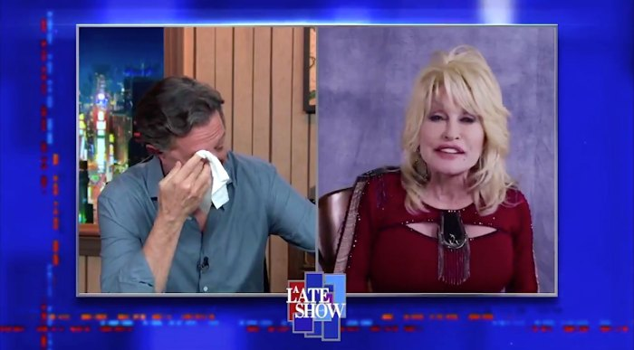 Stephen Colbert Moved to Tears After Dolly Parton Sings on Late Show