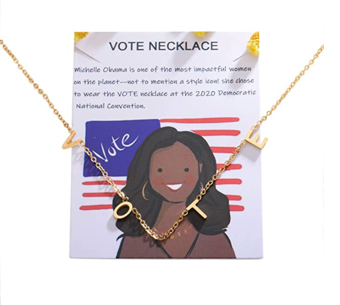 VLINRAS Michelle Obama Vote Necklace