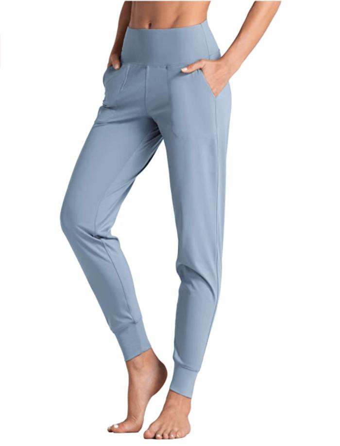 Wjustforu Joggers para mujer Pantalones deportivos activos de cintura alta