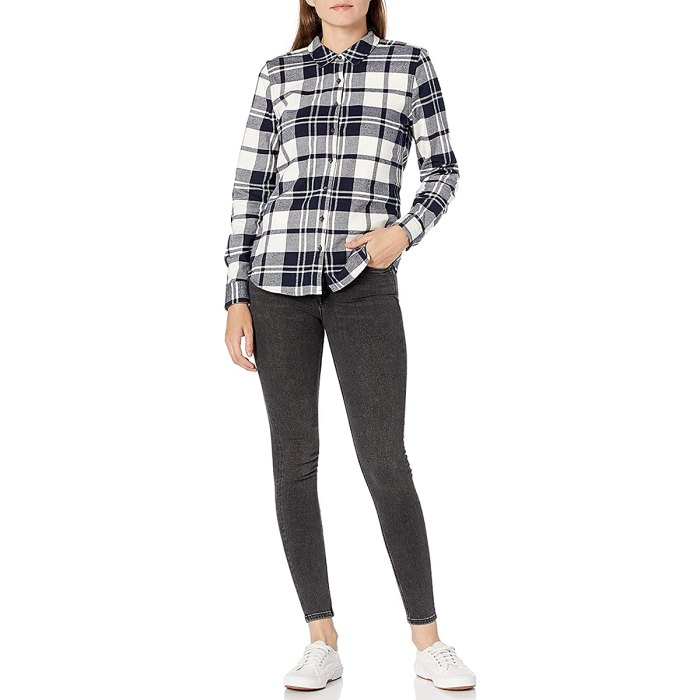 Camisa de manga larga ajustada de franela de Goodthreads