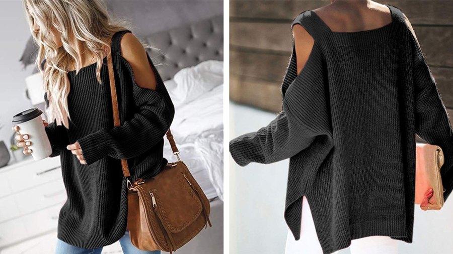 MaQiYa Cold Shoulder Batwing Oversize Sweater