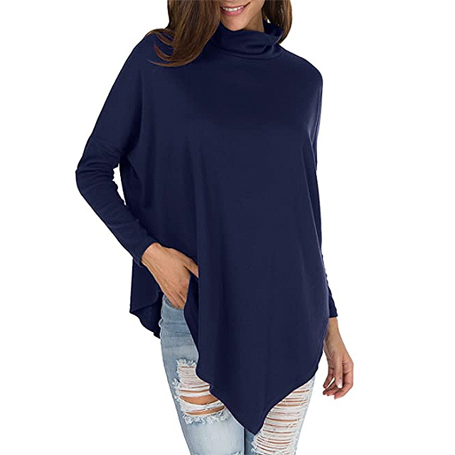 Levaca Women's Casual Tunic Long Sleeve Batwing with Turtleneck (Dark Blue)
