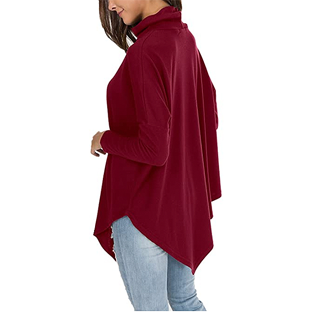 Women's levaca casual tunic with long sleeves batwing with turtleneck (wine)