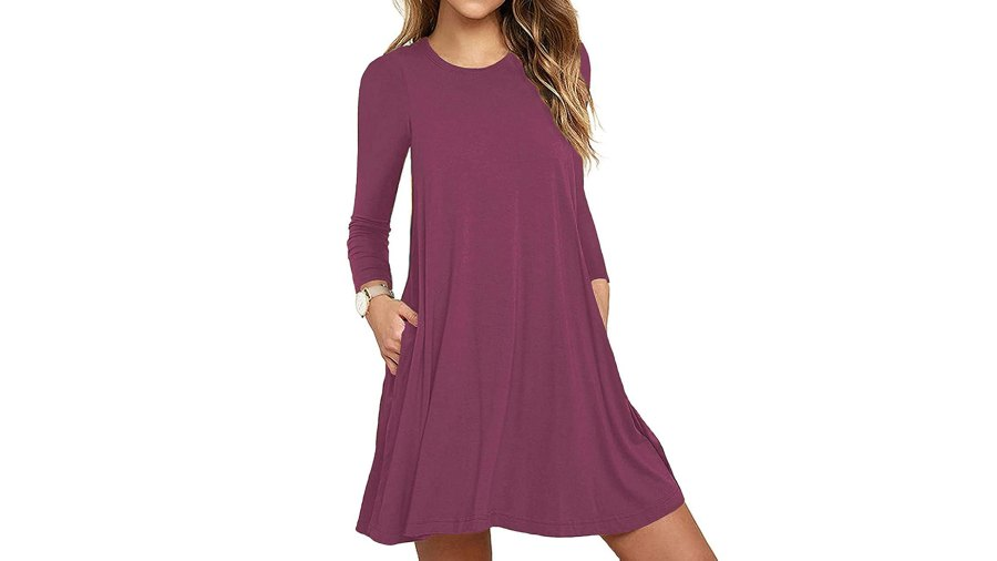 Unbranded* Long-Sleeve Pocket Casual Loose T-Shirt Dress