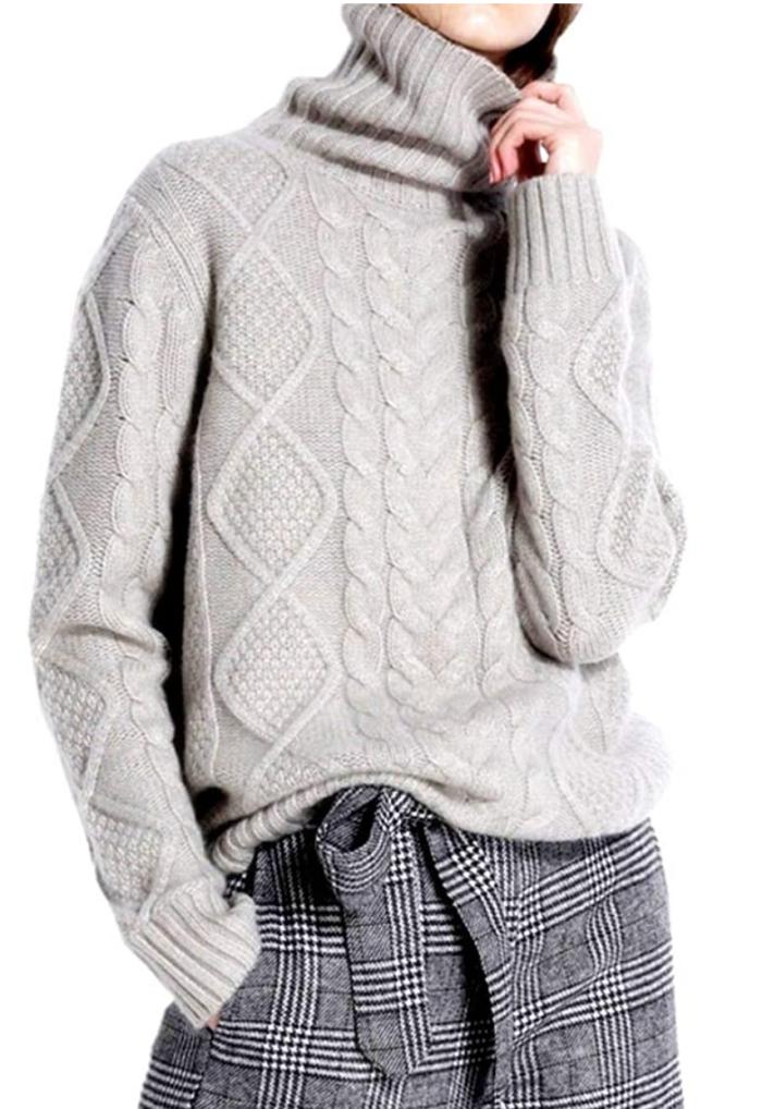 Ailaile Suéter de lana de cachemir con cuello alto grueso y torcido para mujer