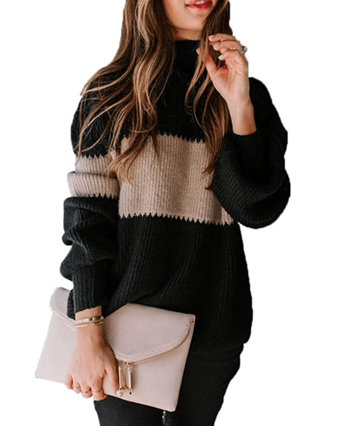 Angashion Women's Oversized Chunky Knit Color Block Sweater