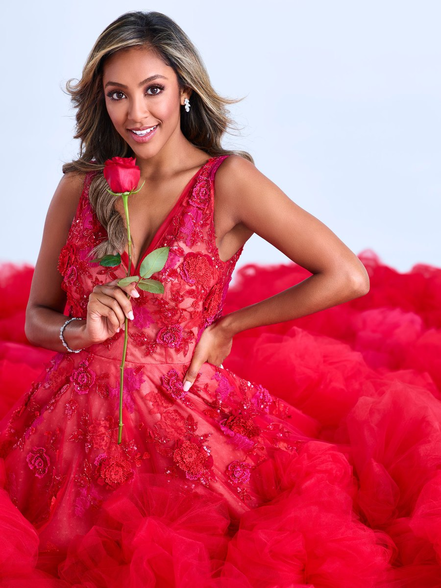 Bachelorette Tayshia Adams Reacts to Moving Into Room Where Clare Crawley and Dale Moss Made Sweet Love Red Dress