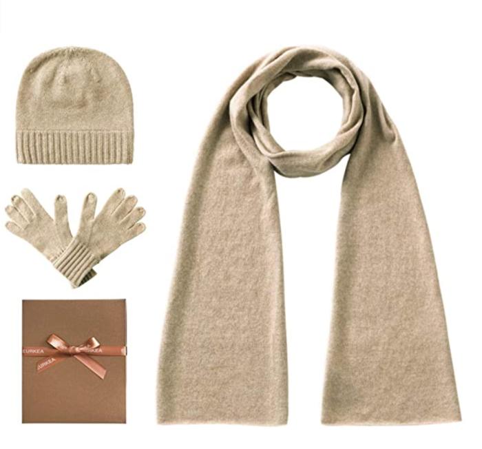 EURKEA Conjunto de caja de regalo de bufanda, guantes y gorro de cachemir 100% puro para mujer