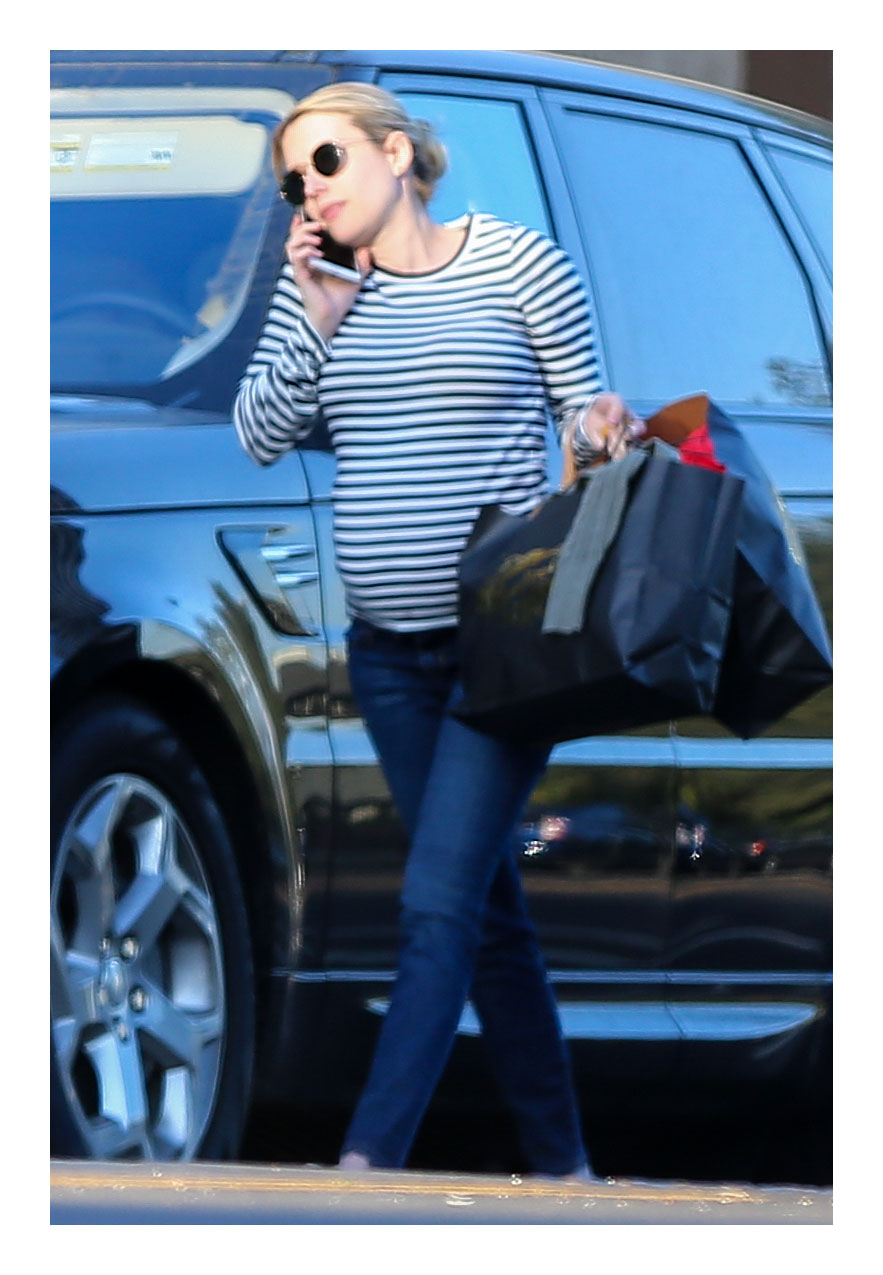 Emma Roberts Striped Shirt Pregnant