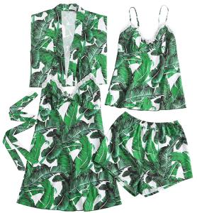 Floerns Women's 4pcs Sleepwear Tropical Palm Leaf Pajama Set