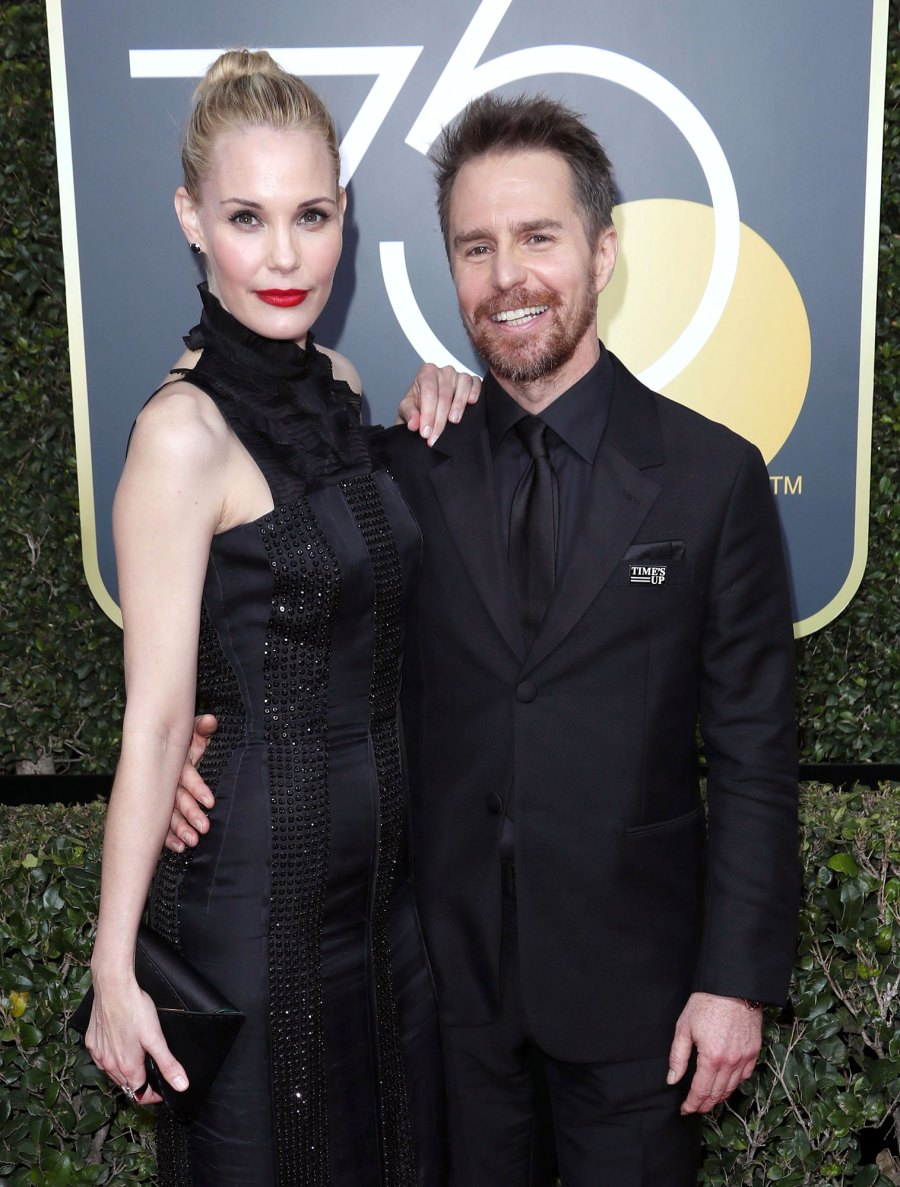 January 2018 She Gushes About His Globes Win Sam Rockwell and Leslie Bibb Relationship Timeline