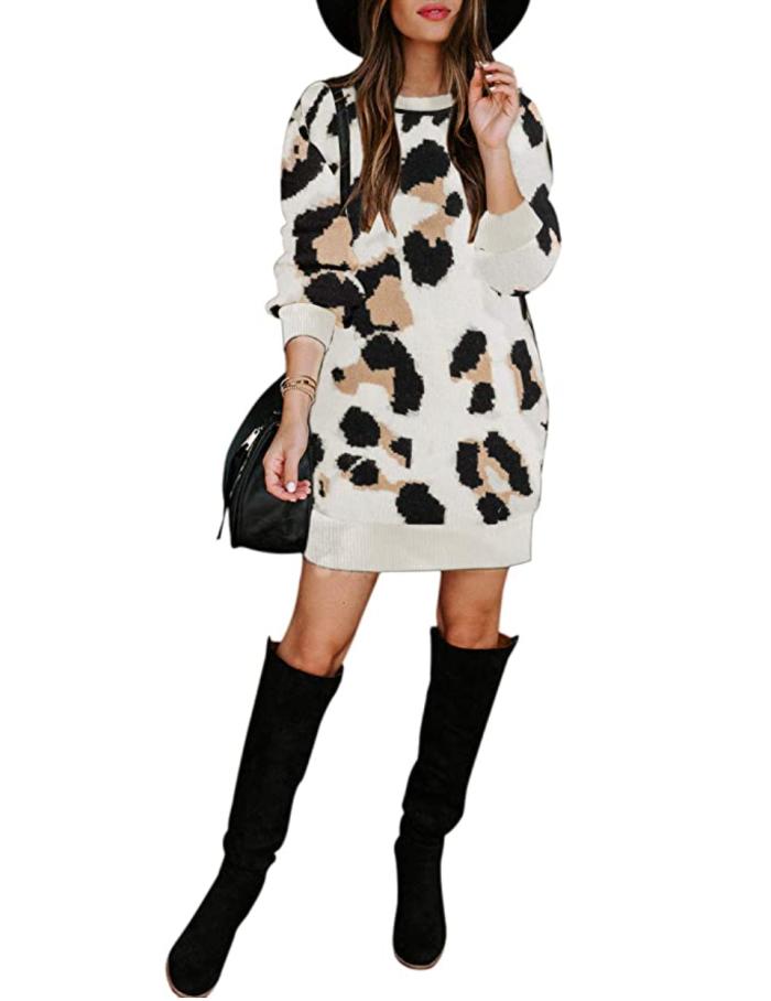 MEROKEETY Vestido tipo jersey de punto de leopardo para mujer