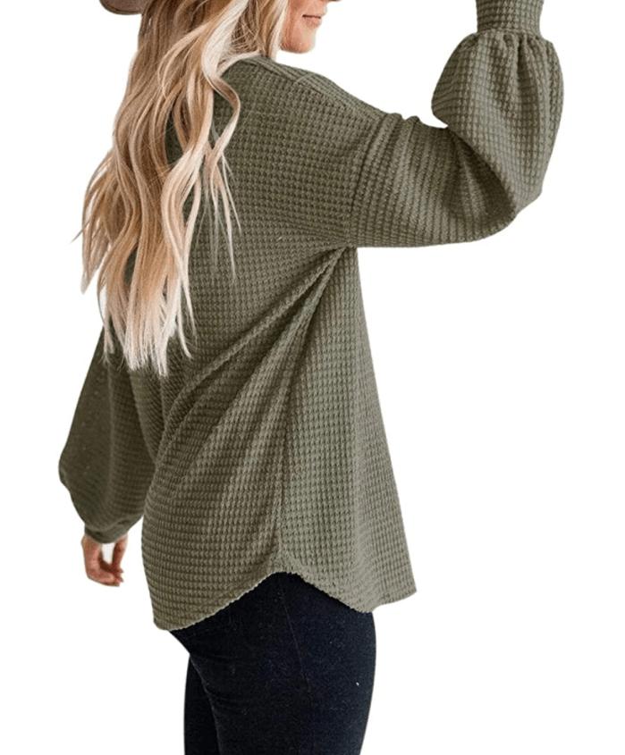 MEROKEETY Top de punto de gofre con manga larga y globo para mujer