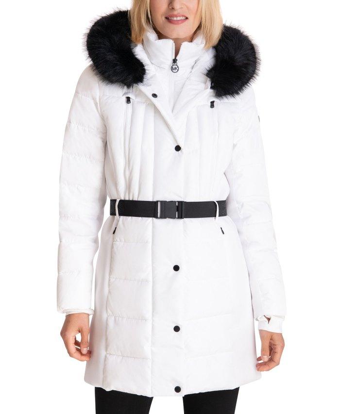 MICHAEL Michael Kors Abrigo acolchado con capucha y cinturón con ribete de piel sintética