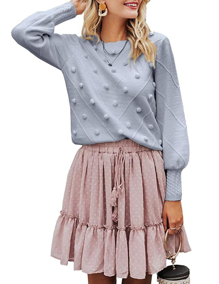 Miessial suéter de manga farol con cuello redondo para mujer