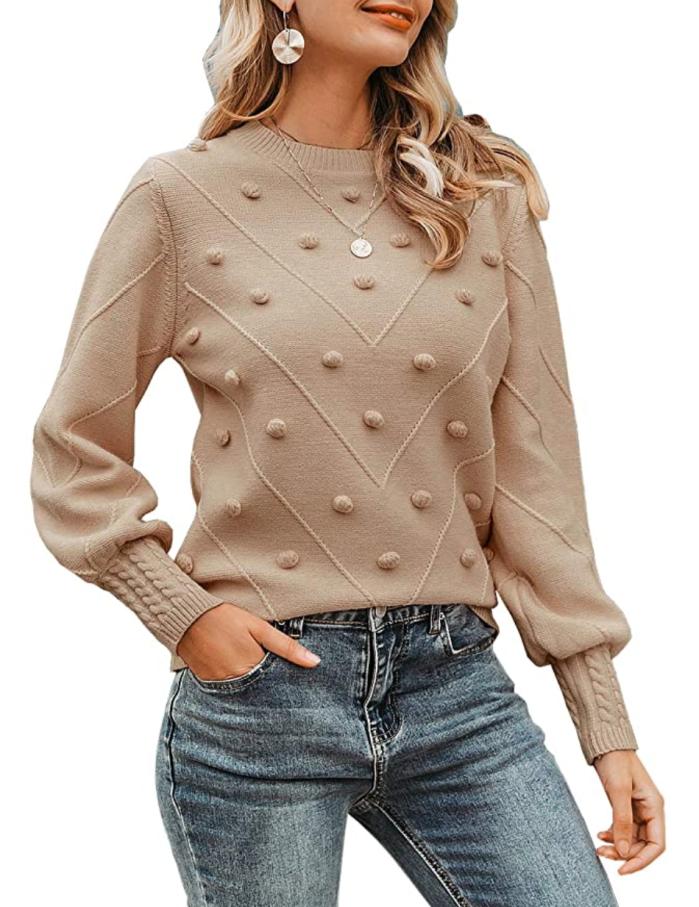 Miessial suéter con cuello redondo y manga farol para mujer
