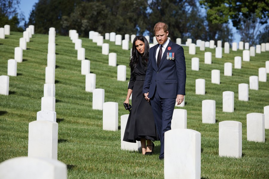 Prince Harry and Meghan Markle Visit Los Angeles Cemetery on Remembrance Day