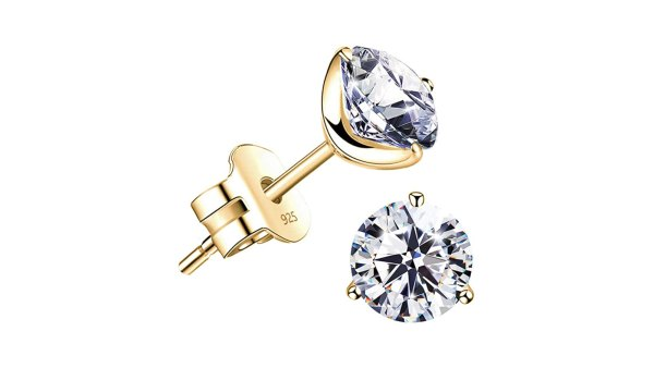 """Raneecoco """"STUNNING FLAME"""" 18K Gold Plated Silver Brilliant Cut Simulated Diamond Cubic Zirconia Stud Earrings"""