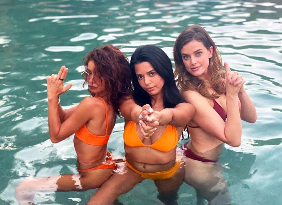 Sarah Hyland Poses in an Orange Bikini Alongside Her Pals