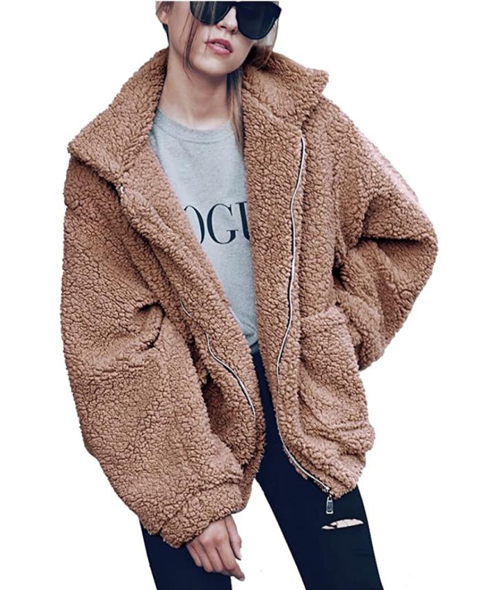 PRETTYGARDEN Abrigo extragrande holgado de piel de oveja sintética con solapa y cremallera a la moda para mujer