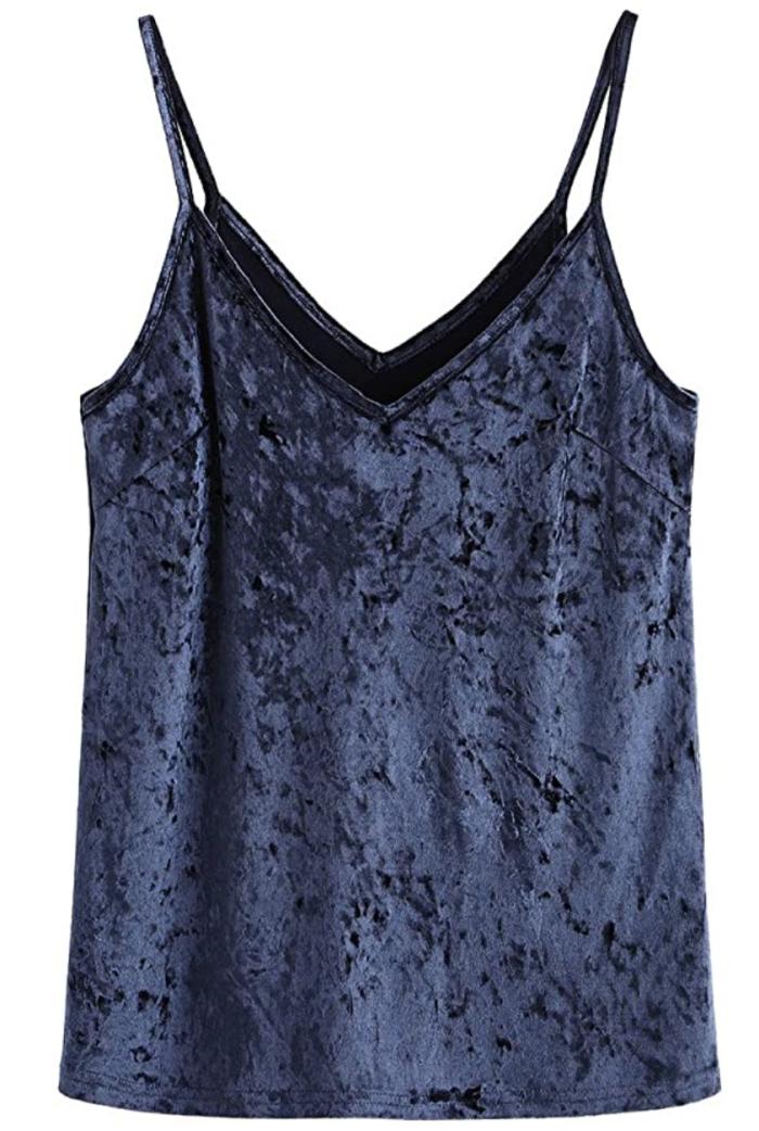 SheIn Camiseta de tirantes con cuello en V, básica, informal, de terciopelo y tiras para mujer