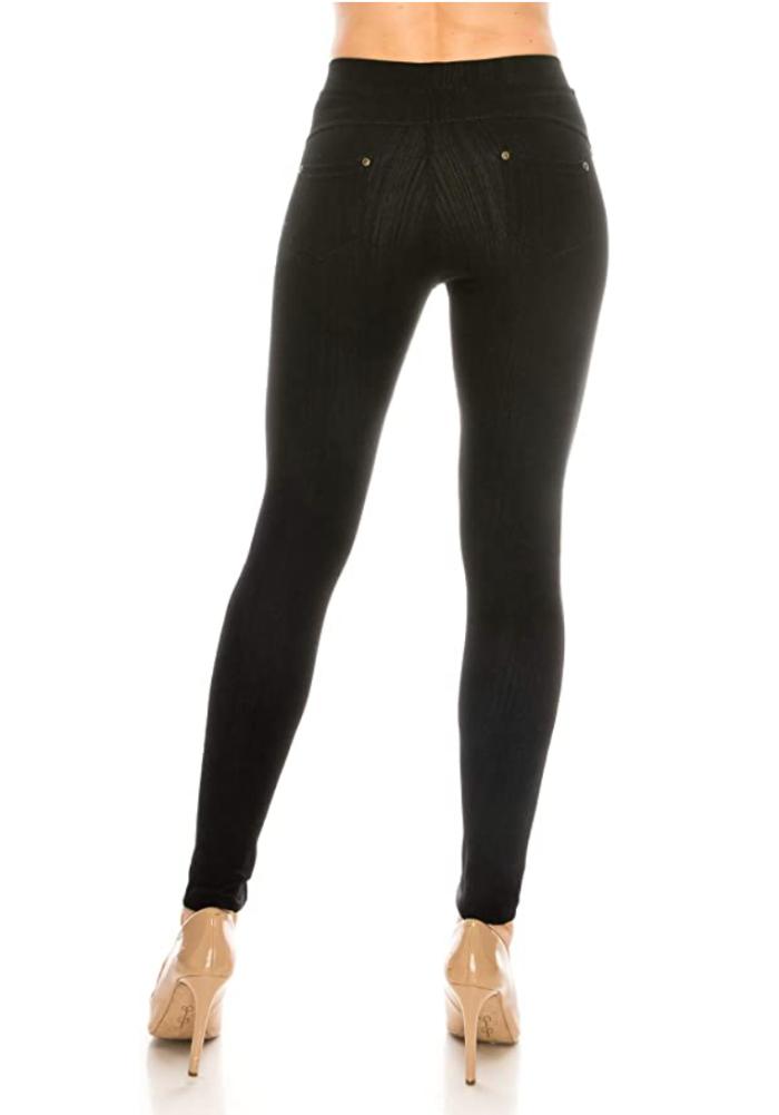 ShyCloset Pantalones de jeggings con bolsillo de mezclilla ajustados y cómodos casuales