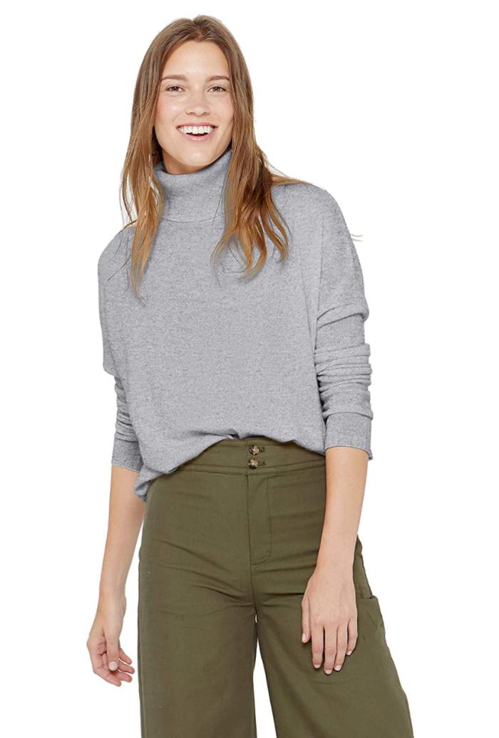 Suéter tipo túnica de cuello alto extragrande de cachemira State 100% cachemira pura