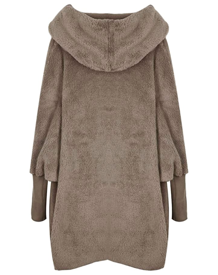 SweatyRocks - Cárdigan de piel sintética con manga de dolman y capucha caqui para mujer