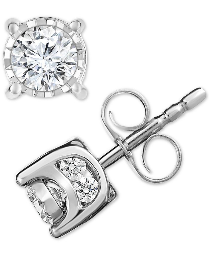 TruMiracle Diamond Stud Earrings (1/2 ct. t.w.) in 14k White, Yellow or Rose Gold
