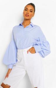 Volume Sleeve Striped Cotton Shirt