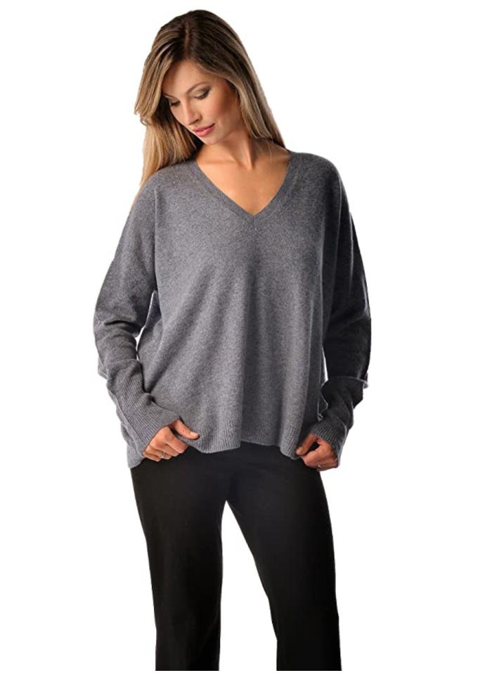 Cashmere Boutique: suéter de novio 100% puro de cachemir con cuello en V para mujer